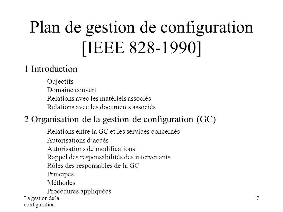 Plan de gestion de configuration [IEEE 828-1990]